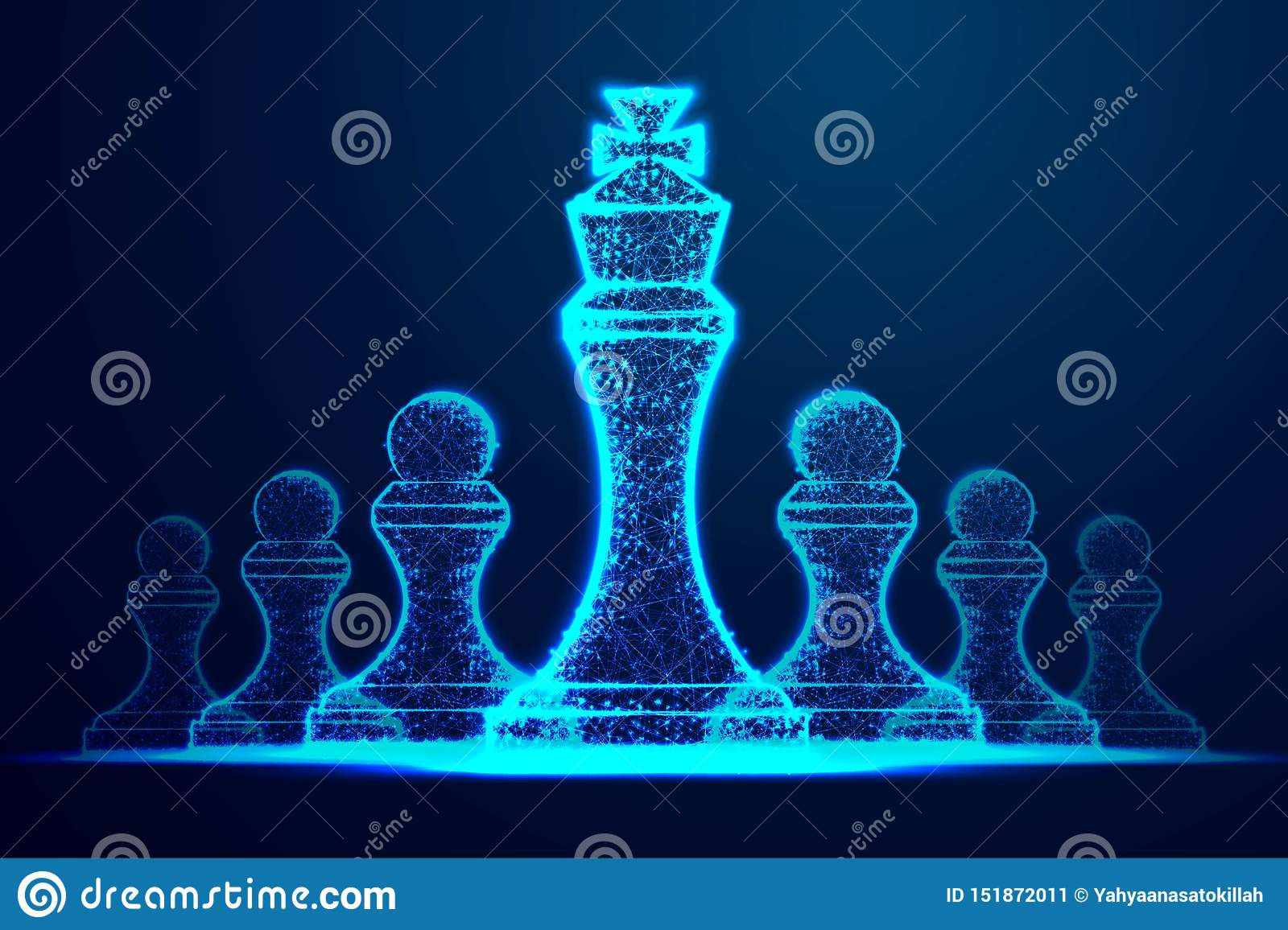 Leader success concept. queen chess figure as symbol of leadership. Successful challenge. Abstract wireframe design. From