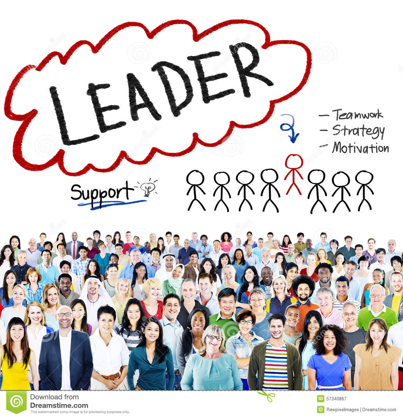 Leader Support Teamwork Strategy Motivation Concept Stock Photo ...