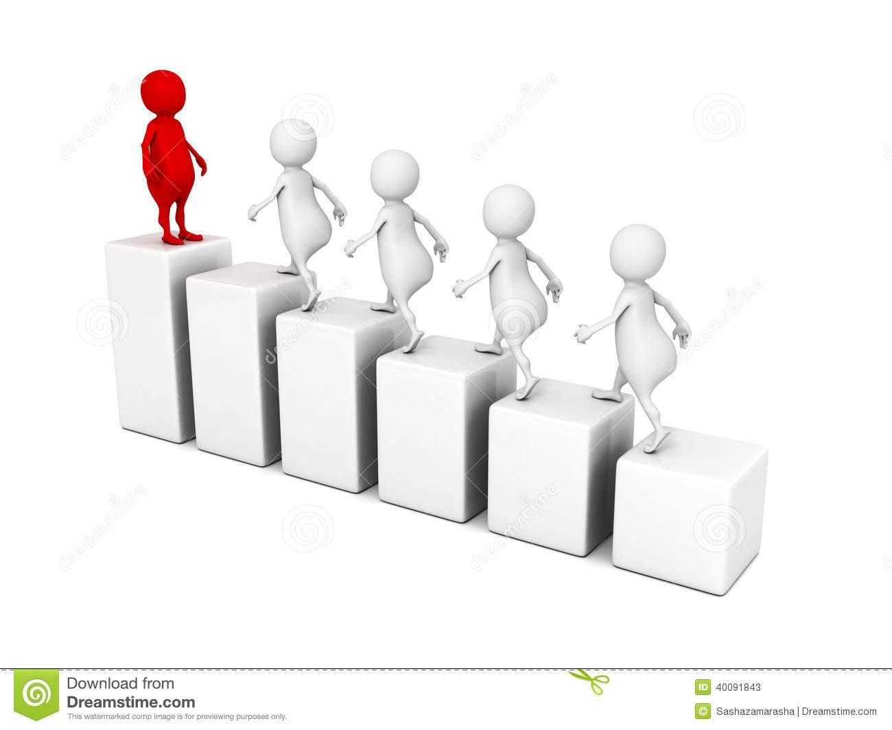 Leadership Concept 3d People Grow On Bar Chart Stock Illustration ...