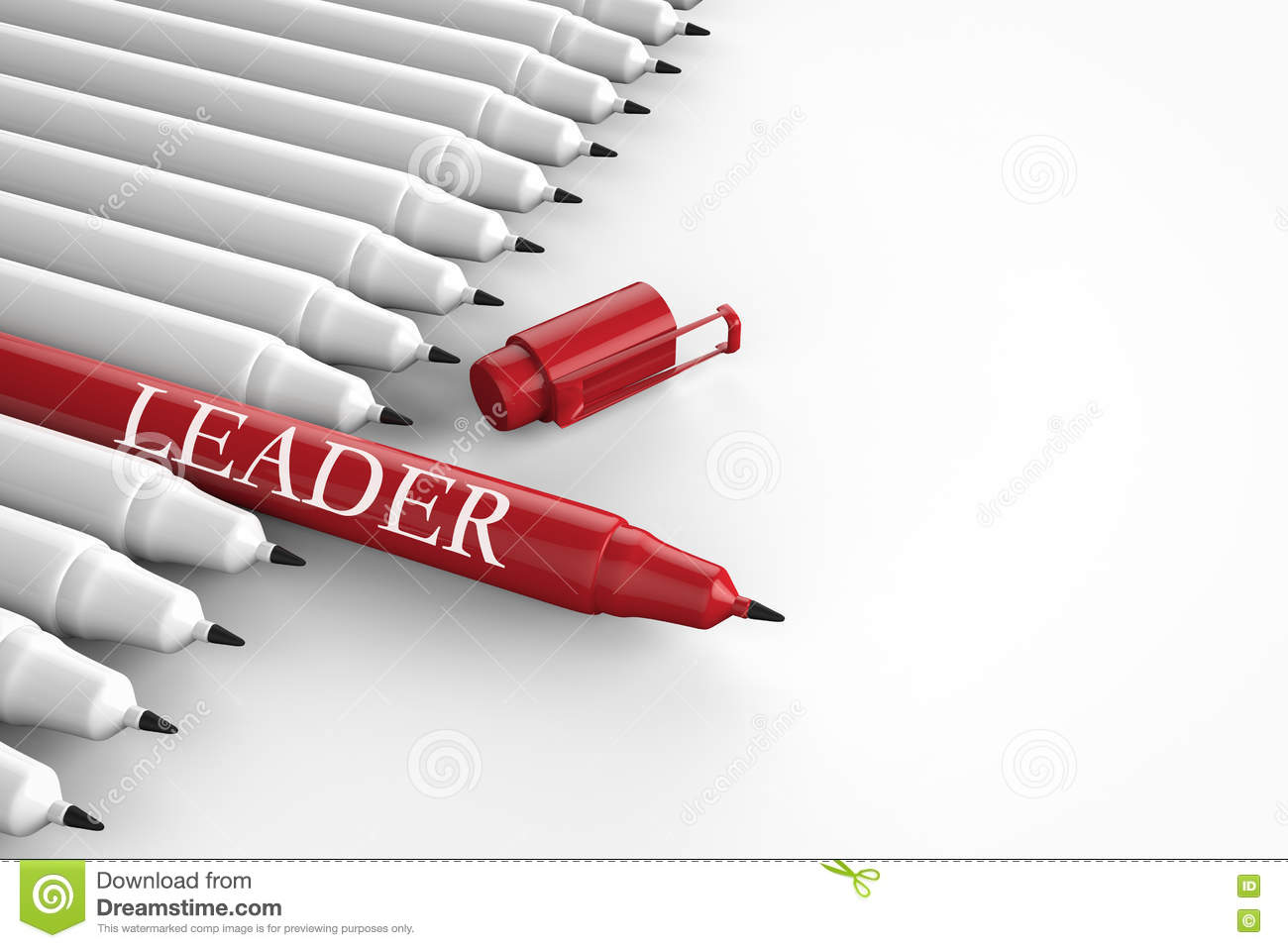 Leadership concept with red pen