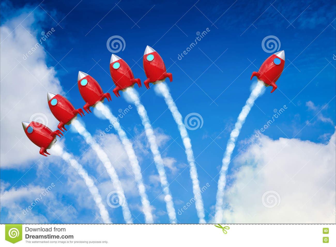 Leadership concept with red space shuttle launch
