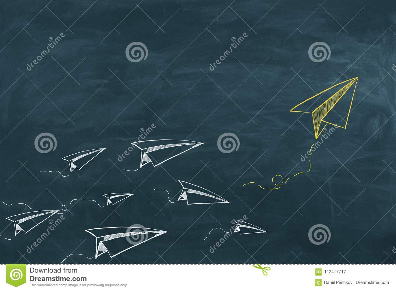 Leadership And Startup Background Stock Illustration Paper Airplane Diagrams Chalkboard With Drawn Planes Concept