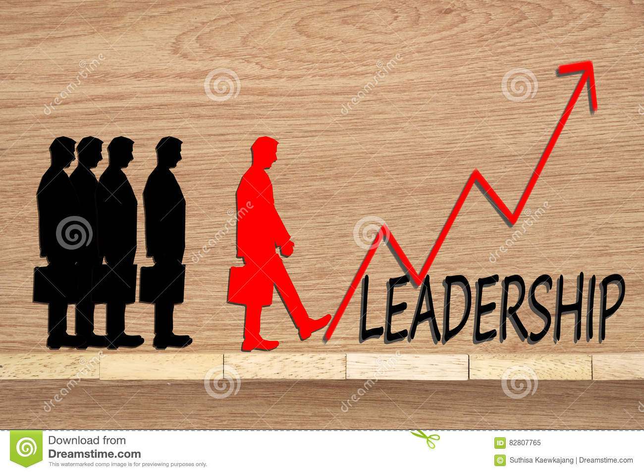 Leadership and team abstract business concept Wooden blocks and