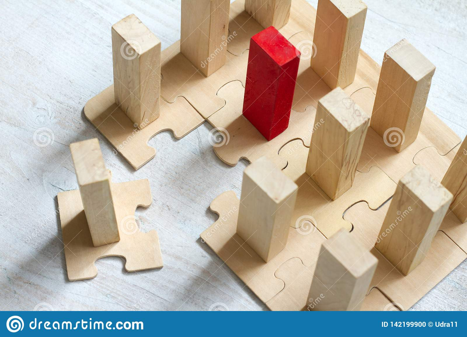 Leadership team and new employee abstract business concept with puzzle and block