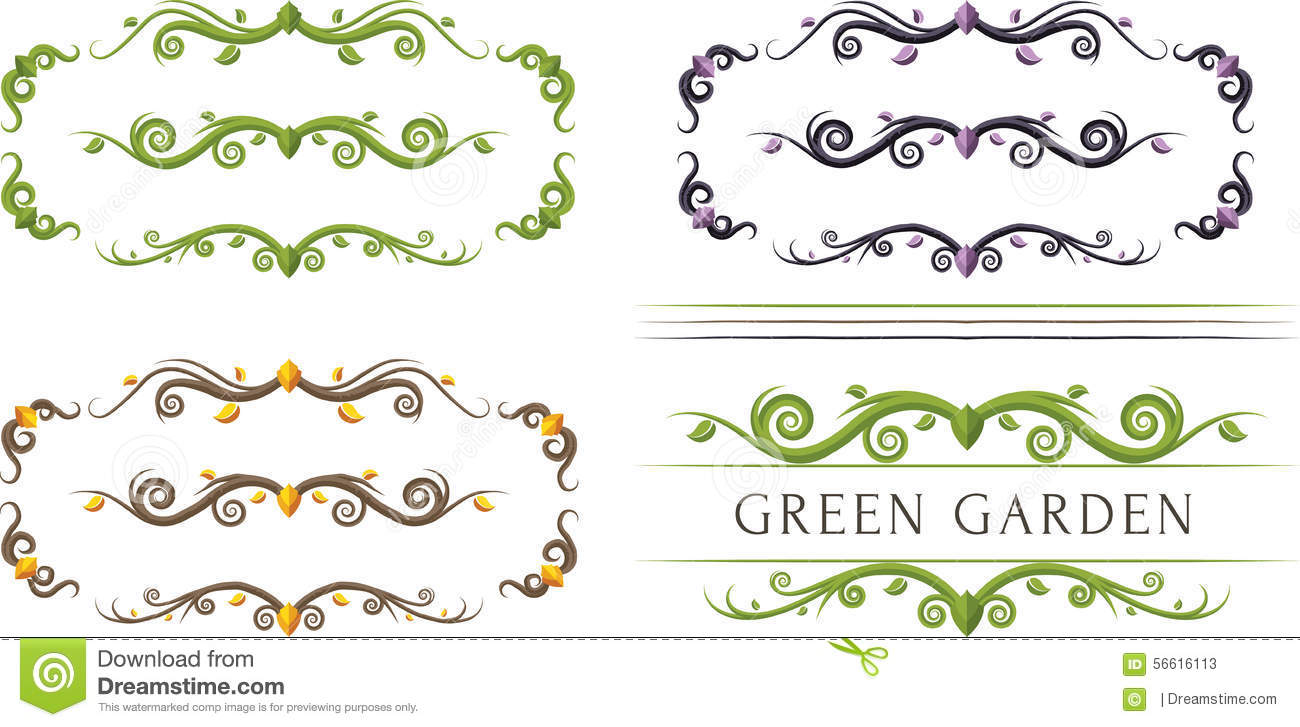 Leafs And Branches Ornament Dividers Stock Vector Image