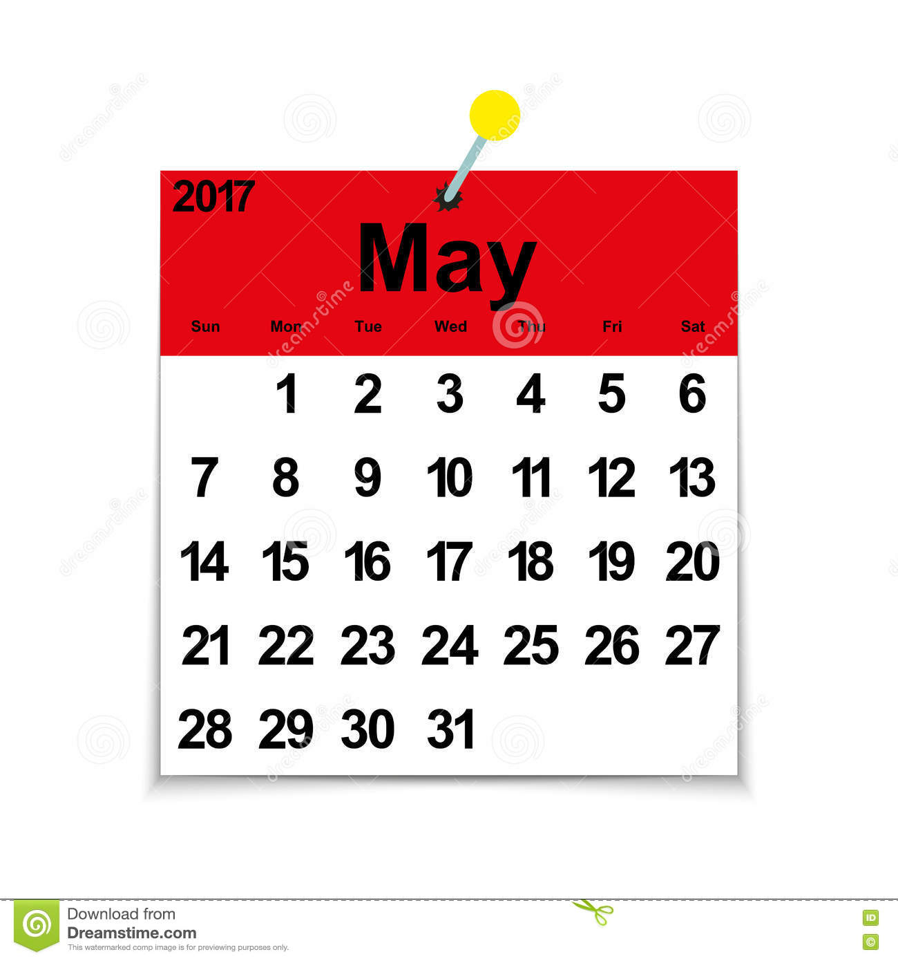 calendar for the month of may