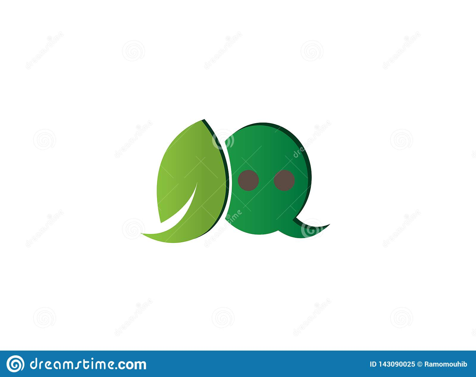 Leaf and chat icon in an ecological dialog for logo design