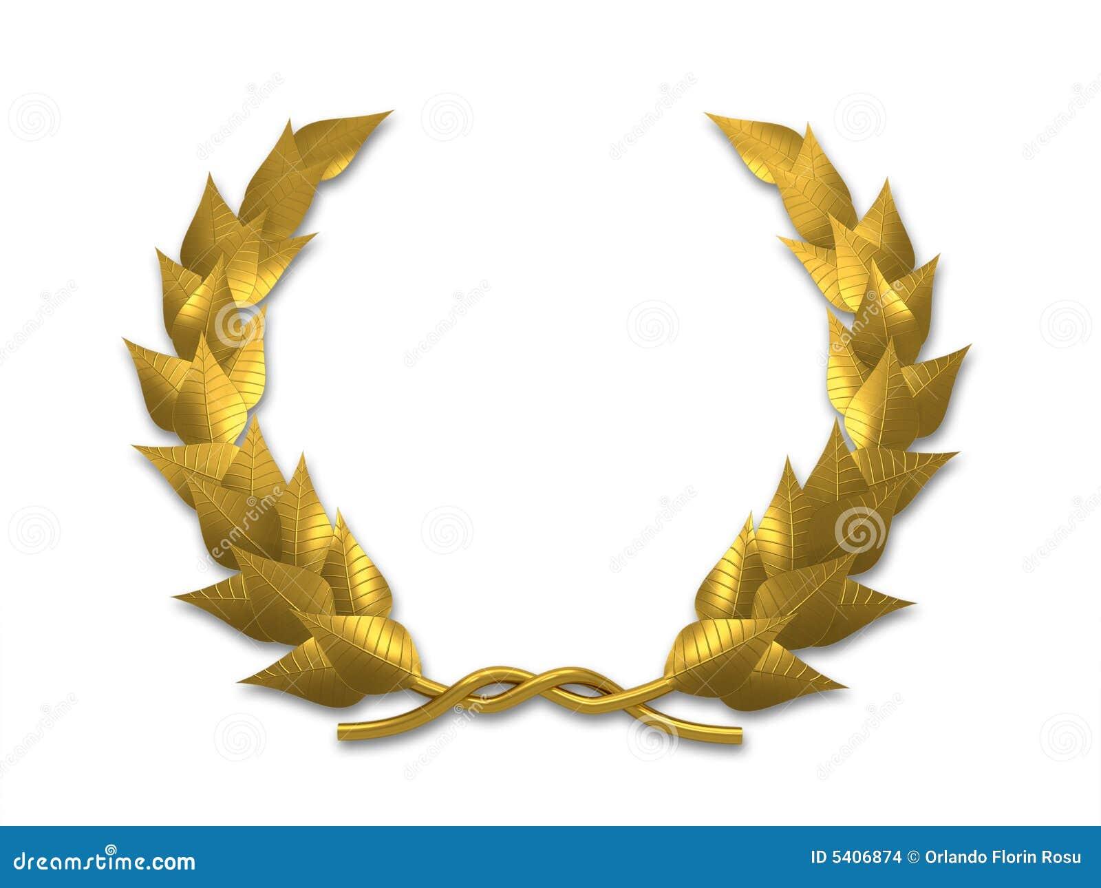golden leaf crest on white background - 3d render.