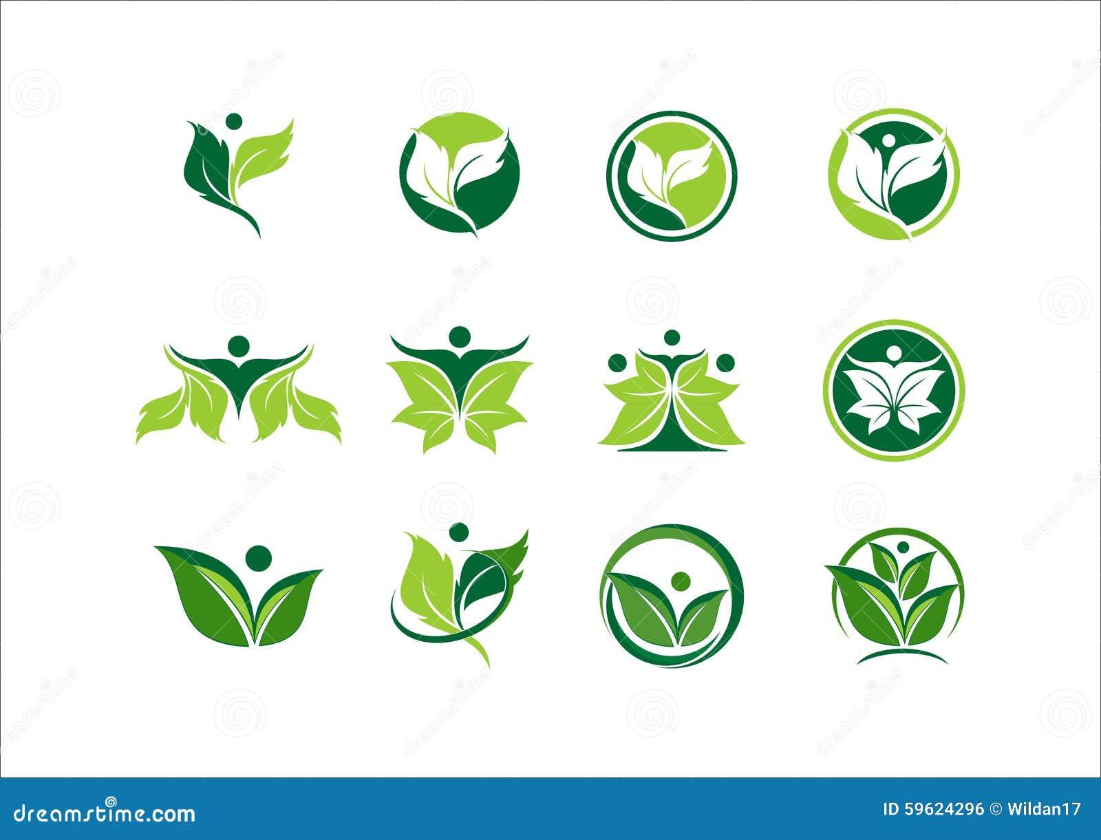 Leaf Ecology Plant Logo People Wellness Green Nature Symbol Icon Sto