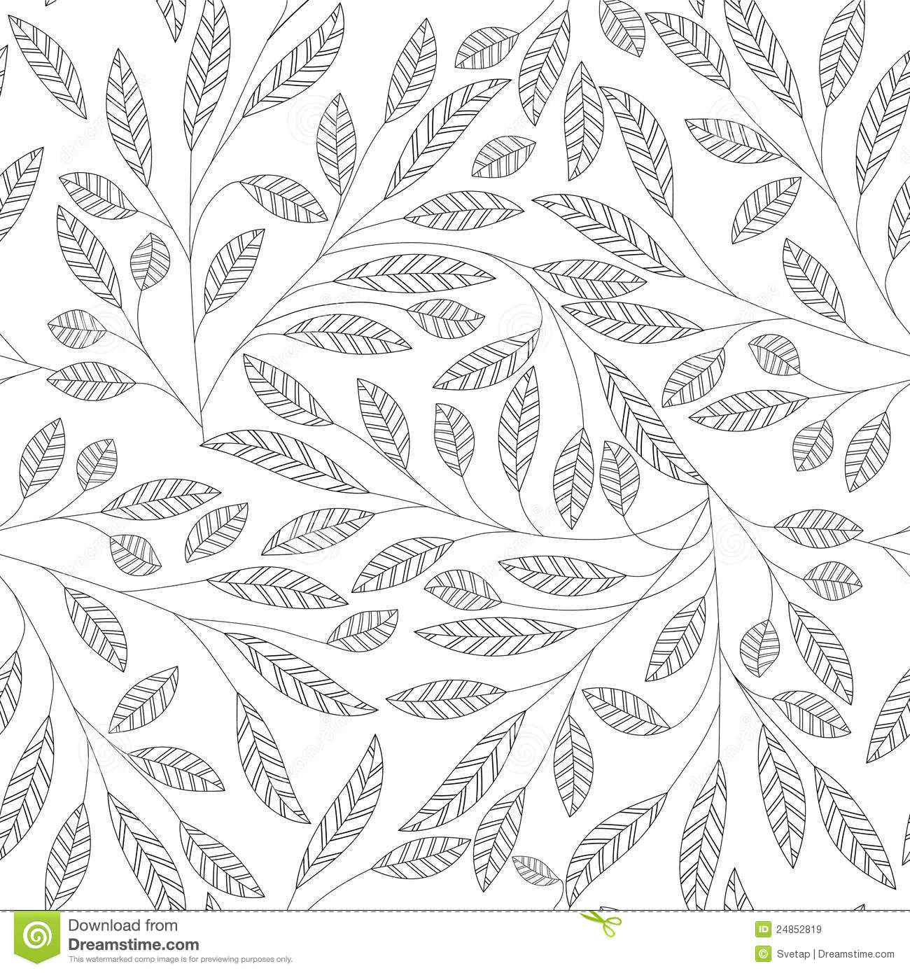 Black Flower And Bud Pattern Royalty Free Stock Photos: Leaf Floral Abstract Seamless Vector Background Stock