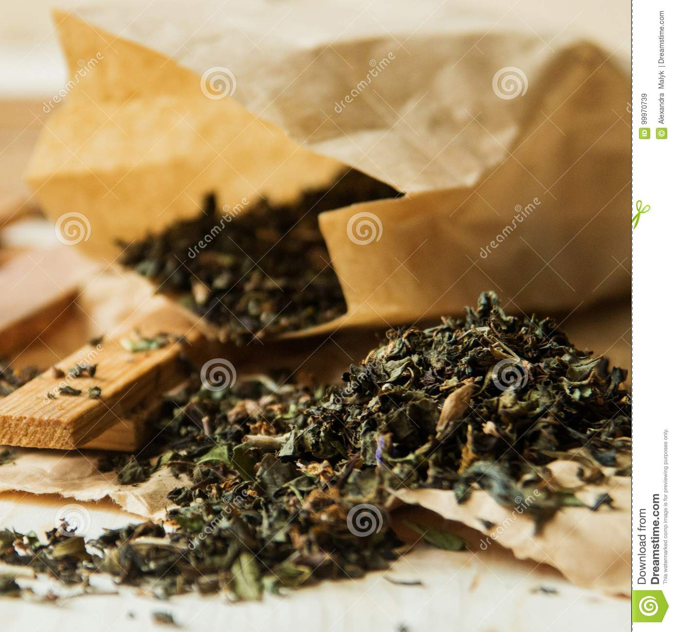 Dried Hibiscus Flower Tea In A Paper Bag Isolated On White Backg