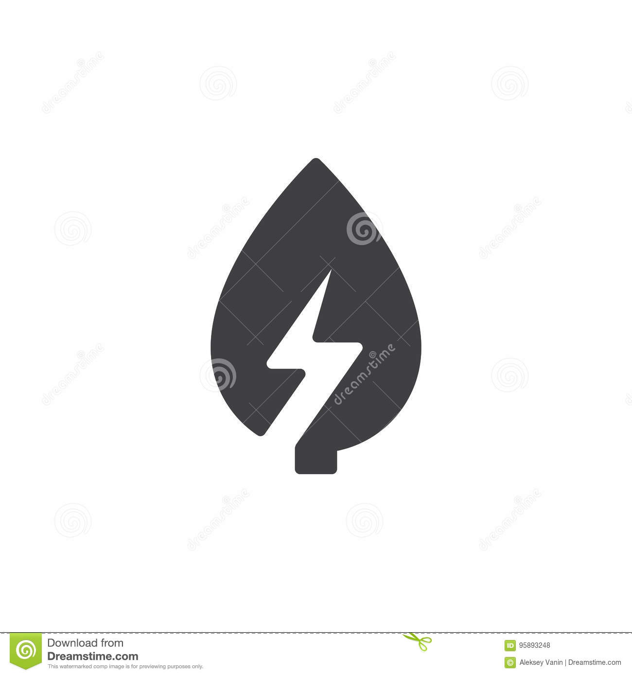 Leaf With Lightning Bolt Icon Vector, Filled Flat Sign, Solid ...