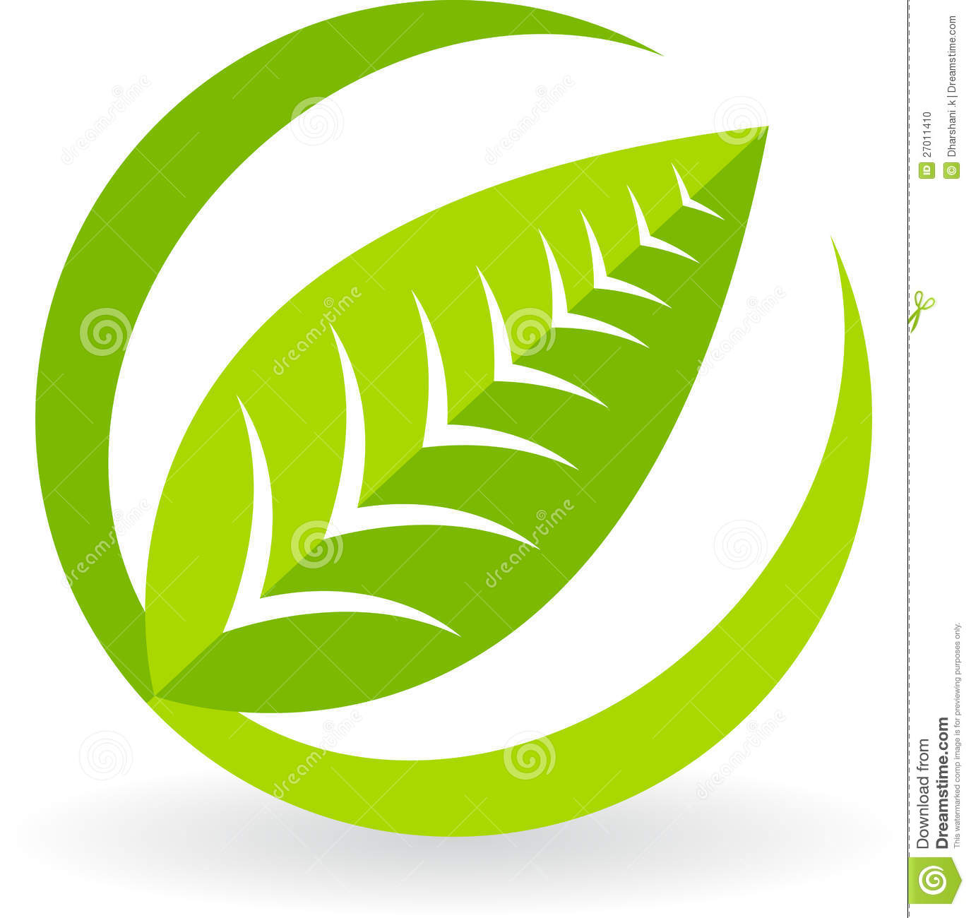 Illustration art of a leaf logo with white background.