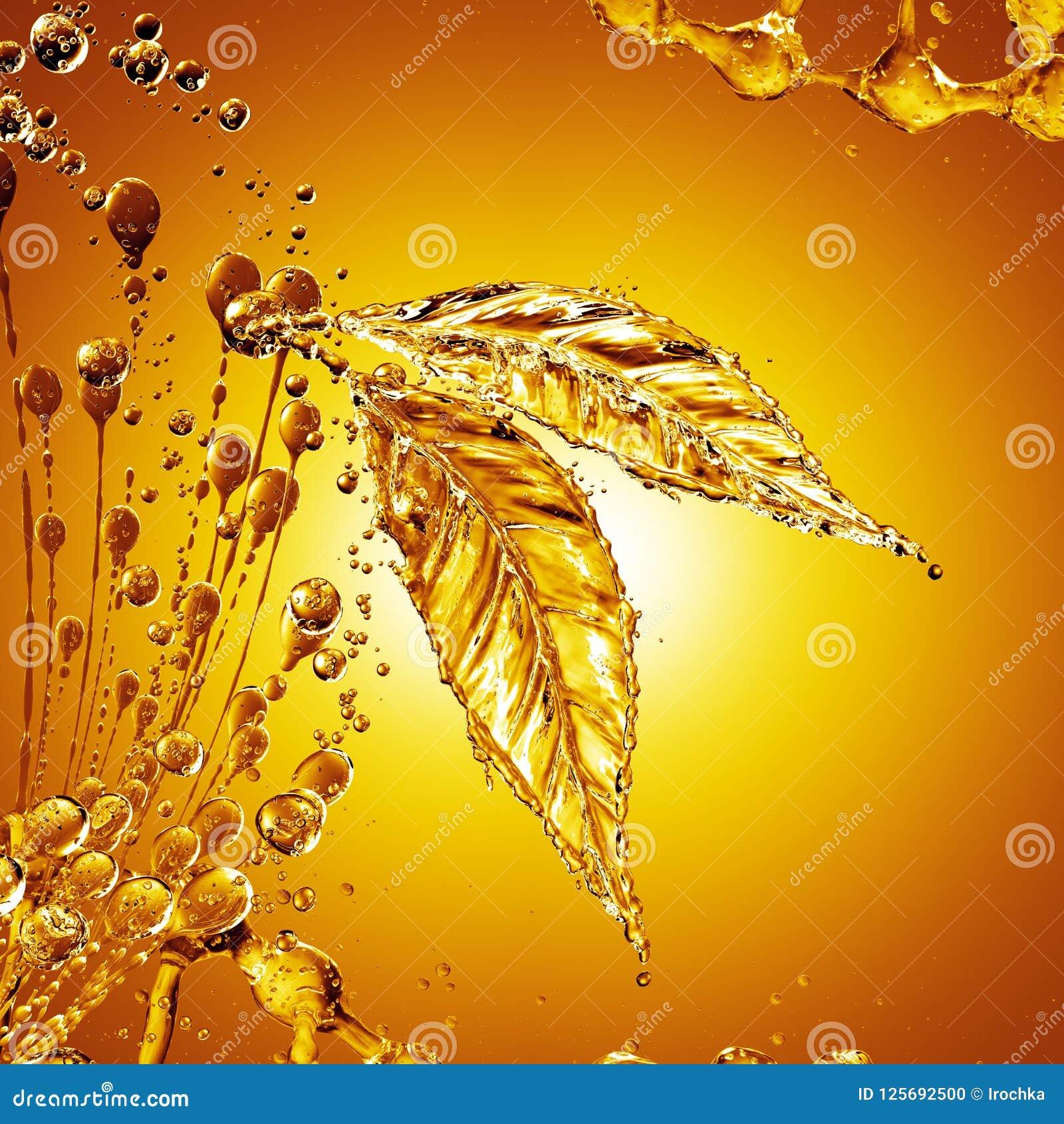 Download Leaf Made Of Oil Splash On Gold Background Stock Illustration - Illustration of figure, drink: 125692500