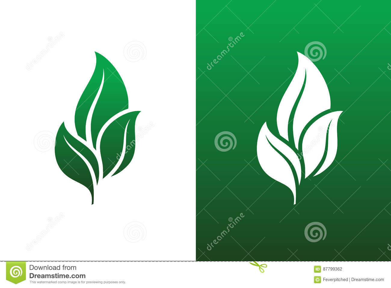 Leaf Pair Icons Vectors Illustrations on Both Solid and Reversed B