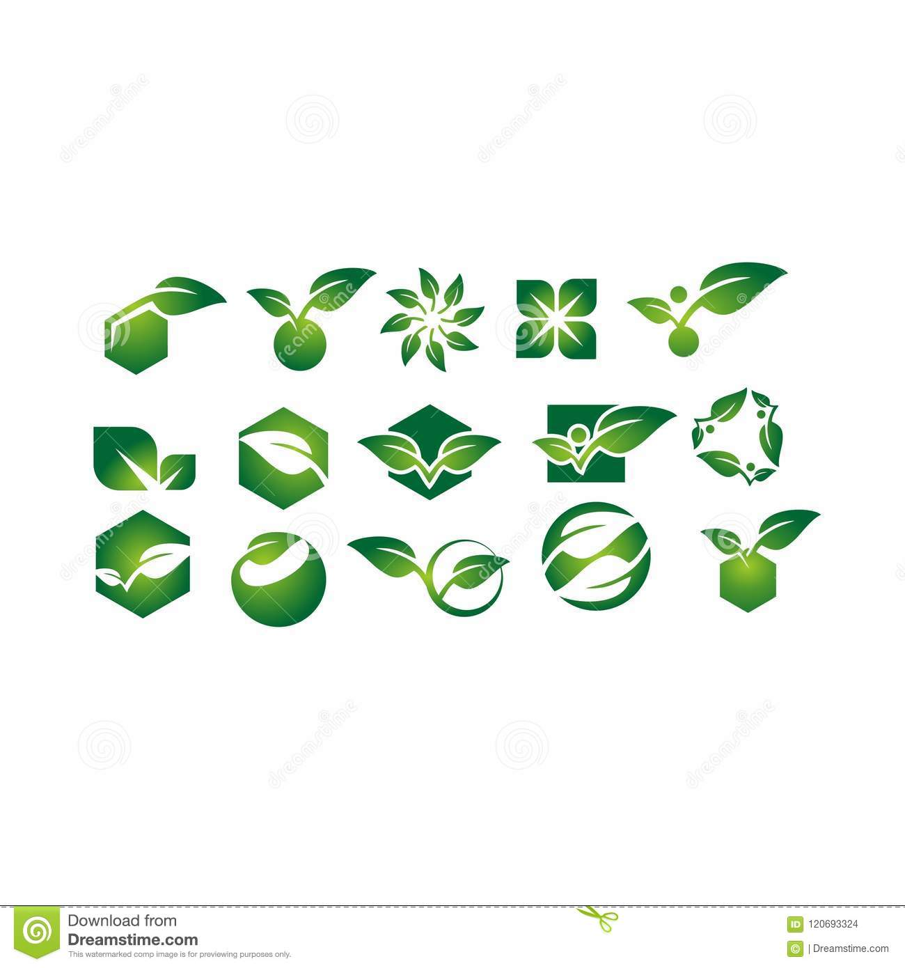 Leaf,plant,logo,ecology,people,wellness,green,leaves,nature symbol icon set of vector designs