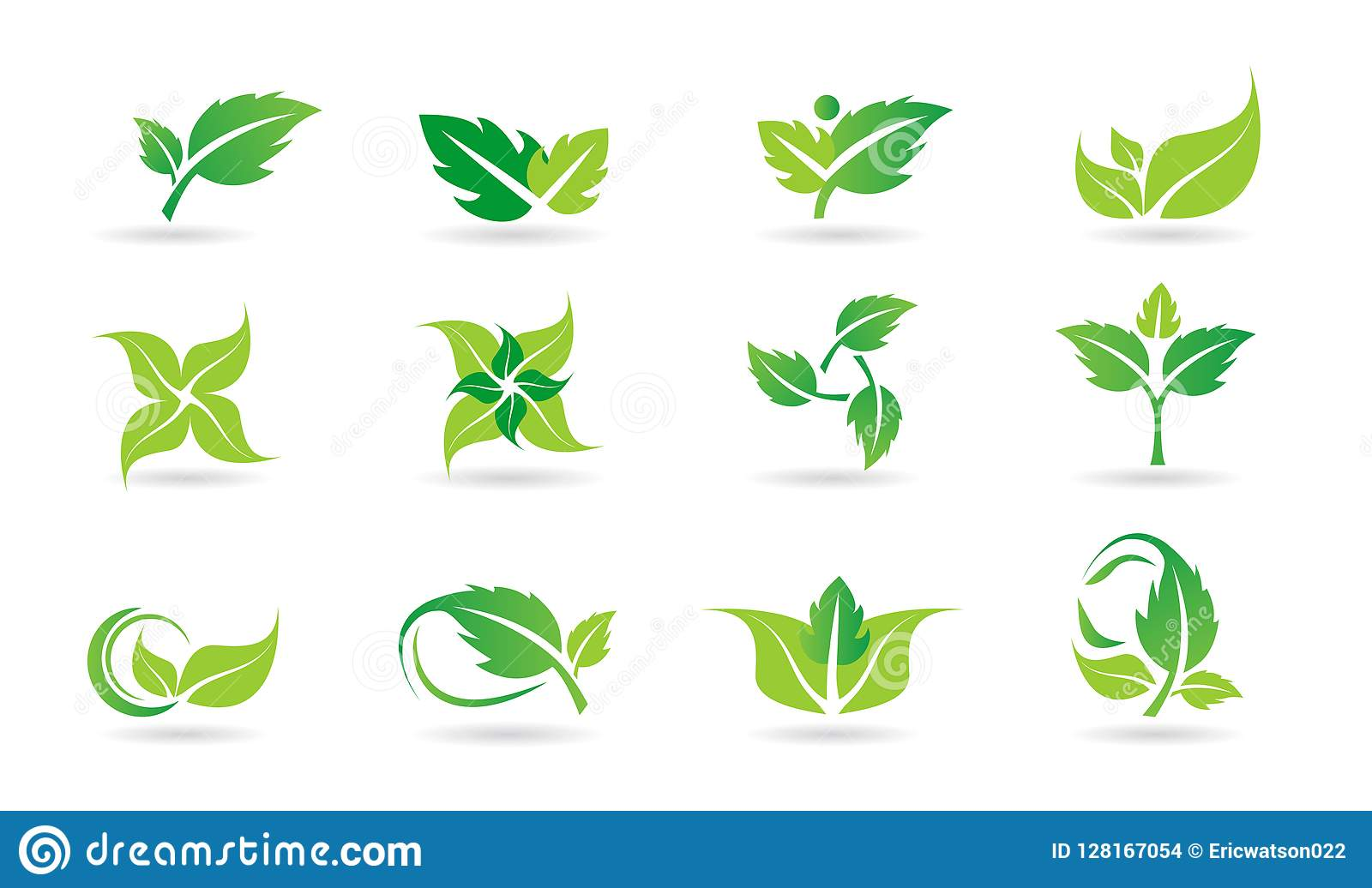 Leaf, logo, plant, ecology, people, wellness, green, leaves, nature symbol icon set of vector icon set