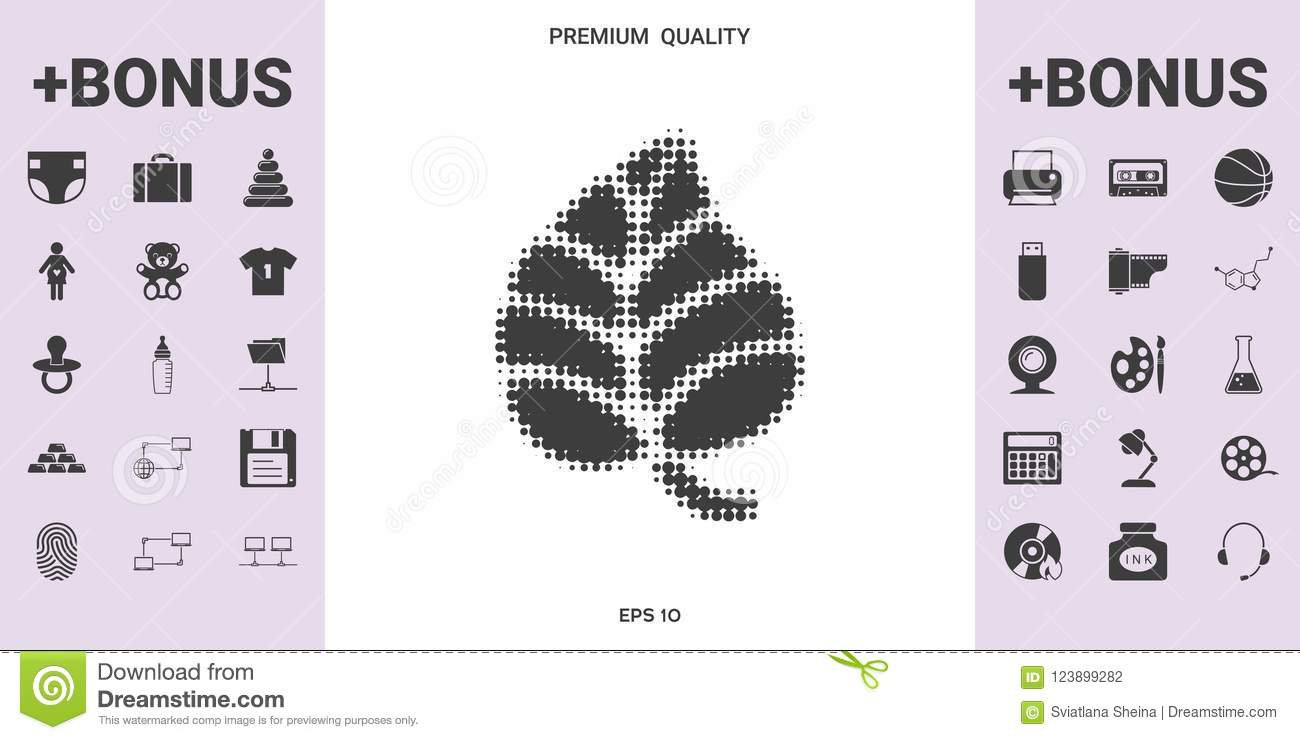 Leaf Symbol Halftone Logo Graphic Elements For Your Design Stock