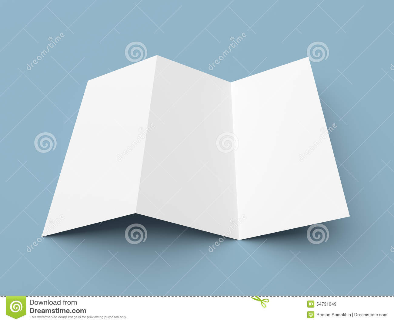 Leaflet blank zigzag fold white paper brochure stock photo for Paper brochure holder template