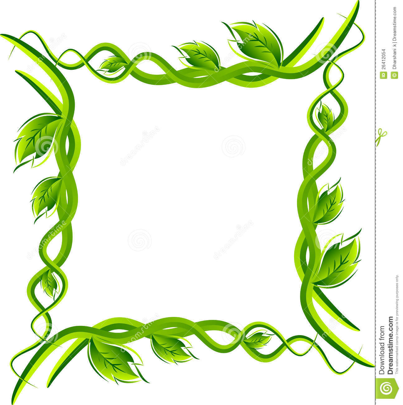 Illustration art of leafs frame border with isolated background.
