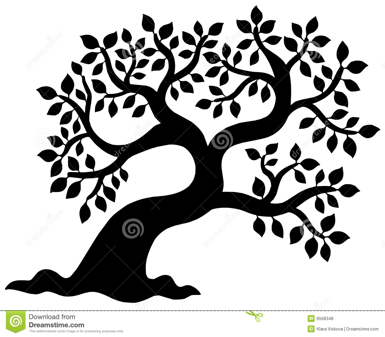 Line Art Of Tree : Leafy tree silhouette stock vector illustration of object