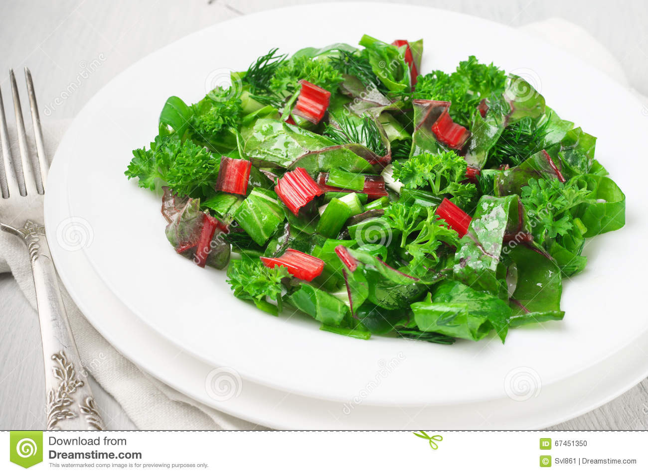 Chard Dill Fresh Leafy Lettuce Napkin Onion Parsley Plate Salad Spring Tatsoi Vegetables