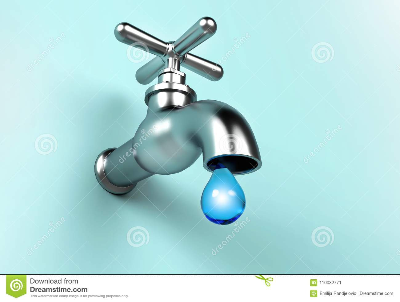Leaking Faucet And Drop Of Water. Save Water Concept Stock ...