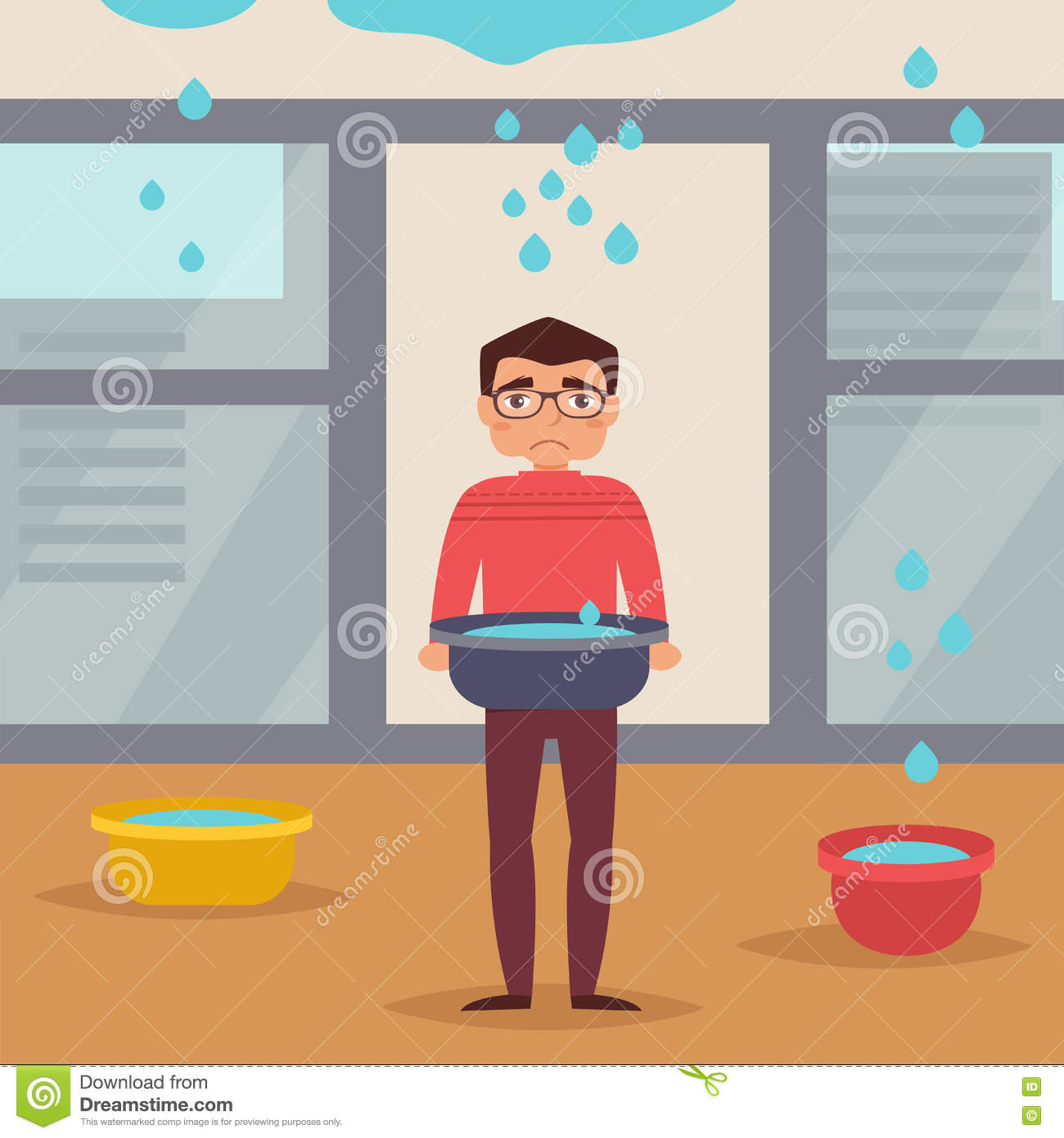 Water Leak From Roof leaking roof. man stands stock vector - image: 78197958