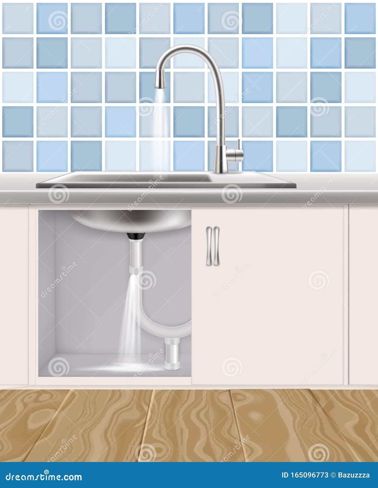 Leaking Water Pipe Plumbing Accident Vector Illustration Stock Vector Illustration Of Plumbing Leakage 165096773
