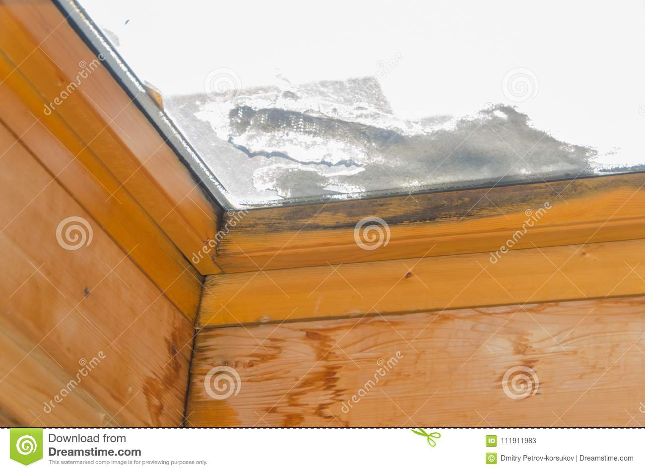 Black Mold On The Window Frame, After The Leak Stock Image - Image ...