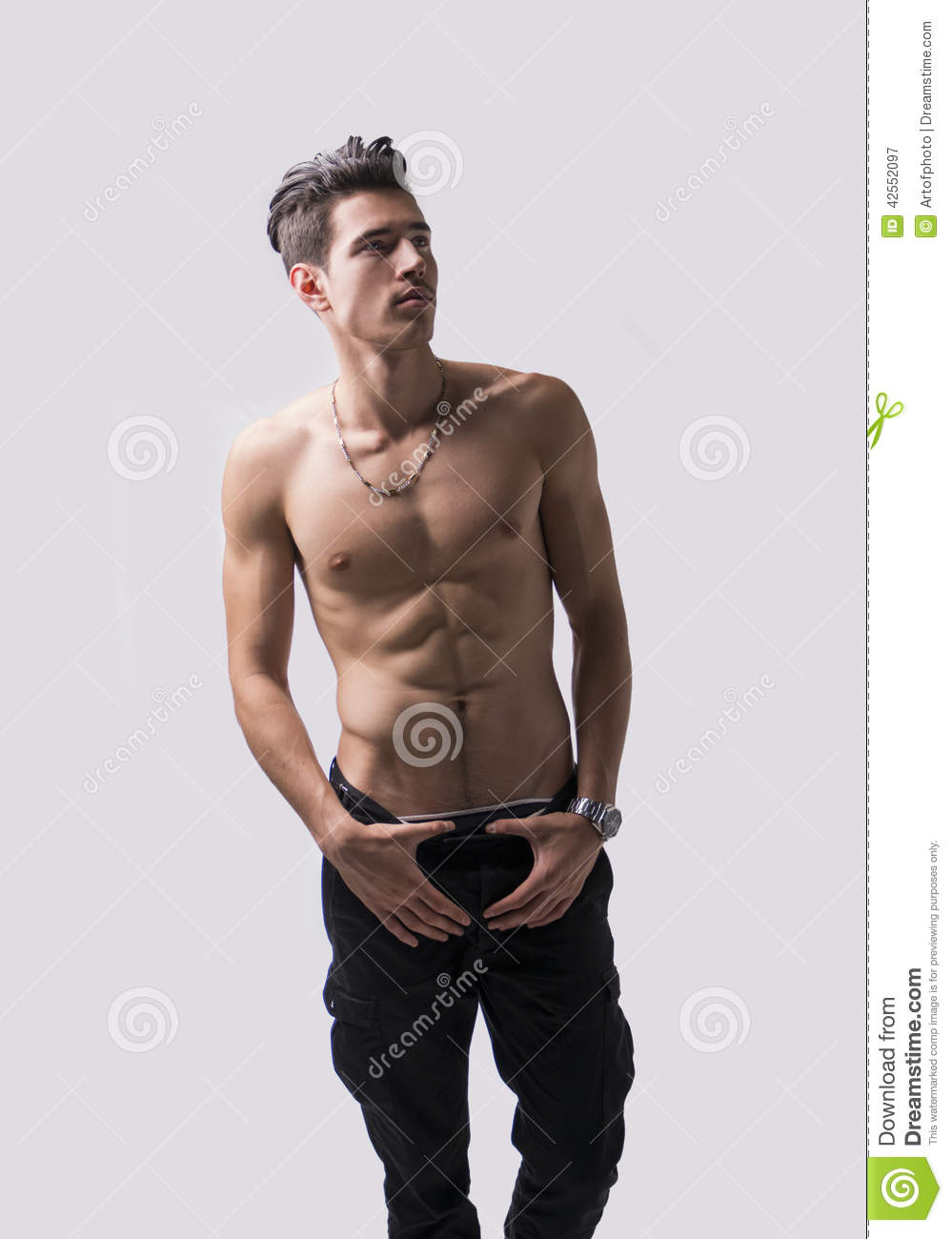 Lean Athletic Shirtless Young Man Standing On Light Background Stock Image - Image Of -8371