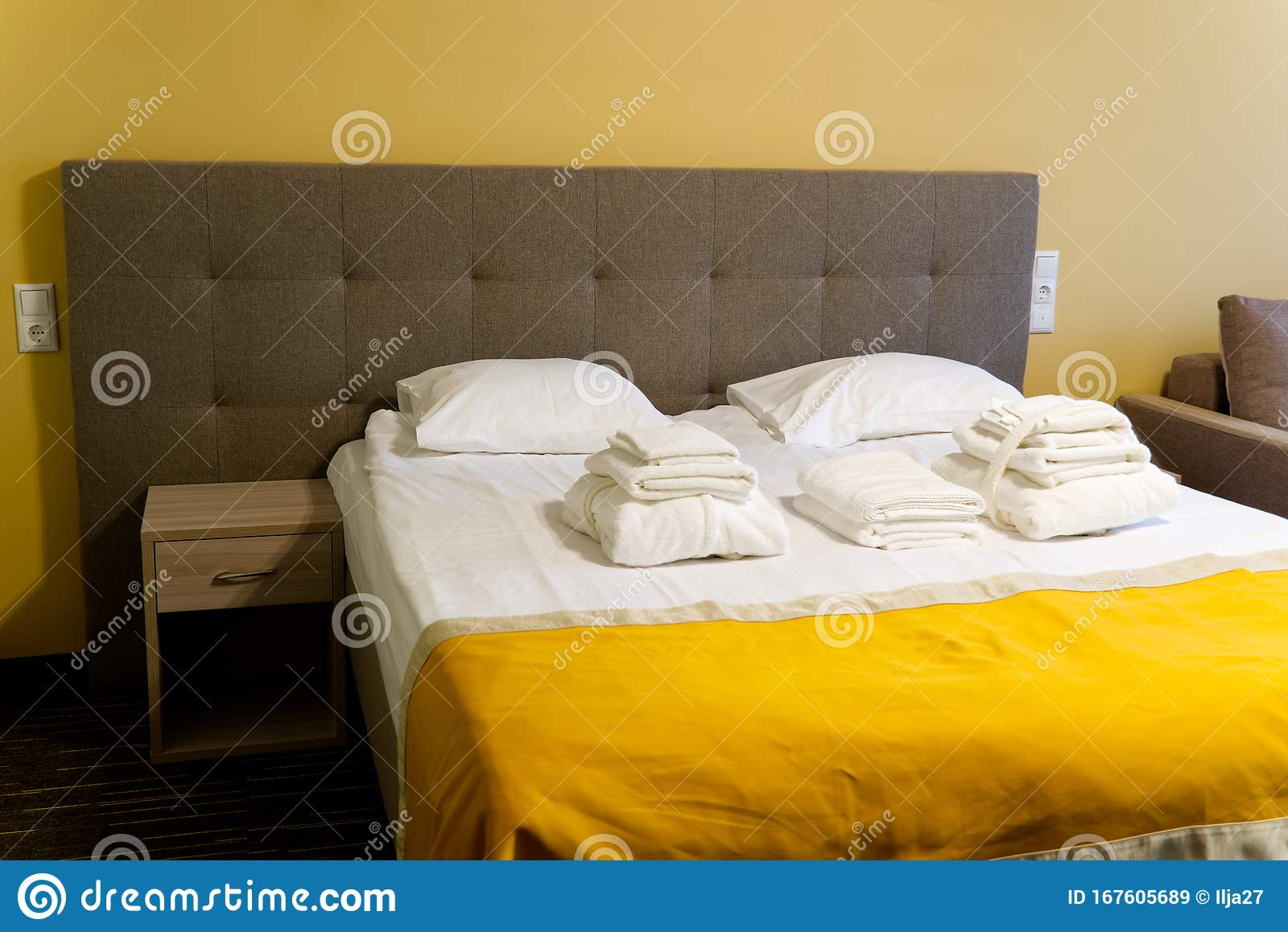 Lean Bed In The Hotel Room Of The Spa Center Ray Soft Bed And Orange Bedspread Stock Image Image Of Home Bedroom 167605689