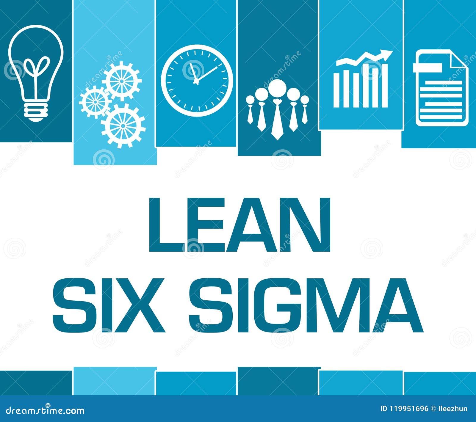 Lean Six Sigma Blue Stripes Symbols Stock Illustration