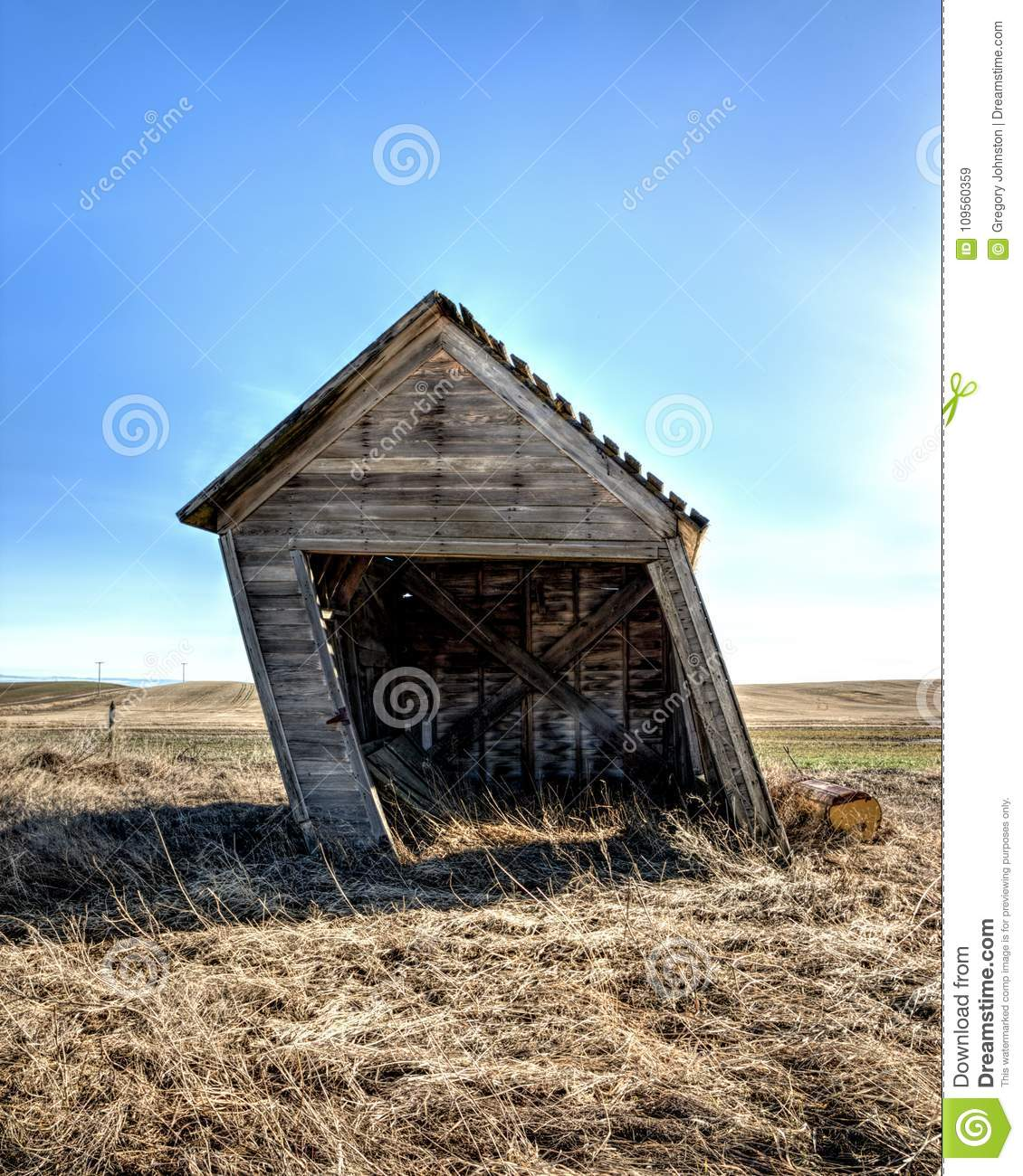 the leaning shed in eastern washington stock image image of