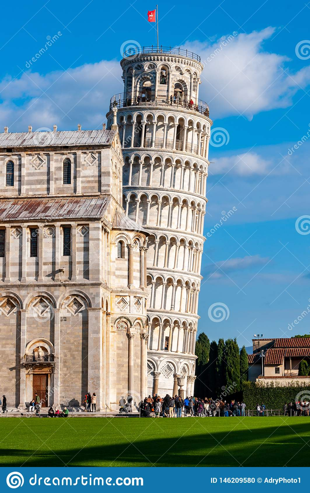 Leaning tower of Pisa in Piazza dei Miracoli