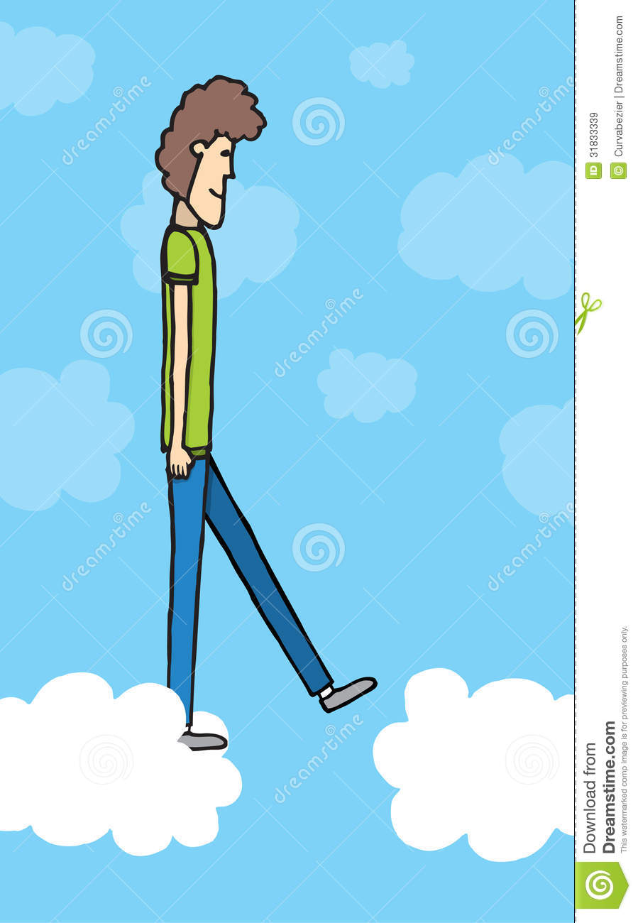 Leap Faith Cartoon Illustration Man Walking Clouds Stock Vector Of