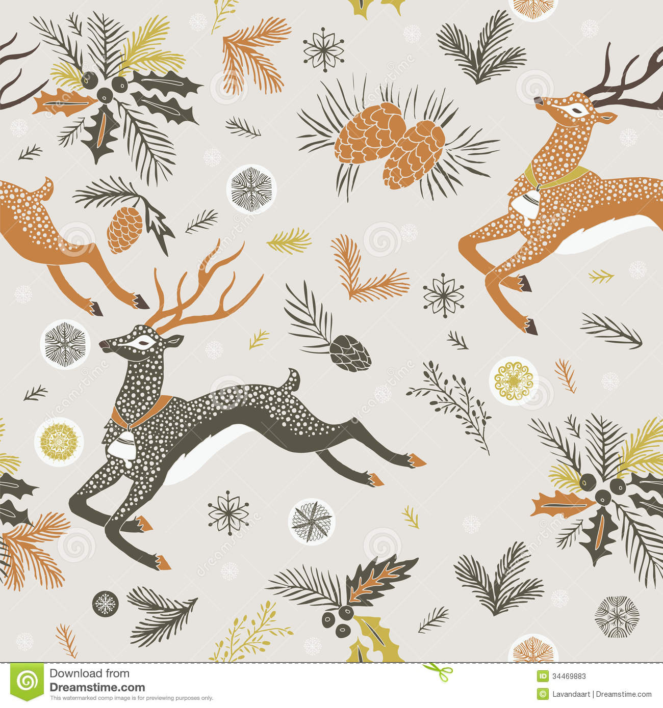 ... seasonal foliage and snowflakes suitable for print and wrapping paper