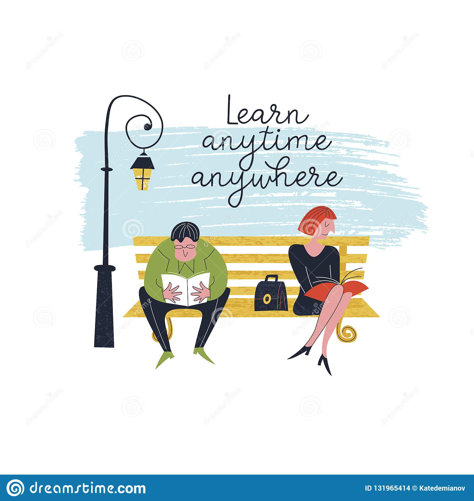 Learn Anytime Anywhere. Vector Illustration. Stock Vector ...