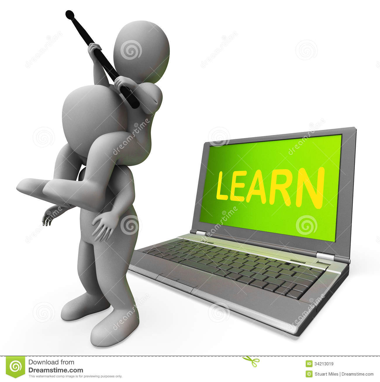 Learn Characters Laptop Shows Web Training Or Studying