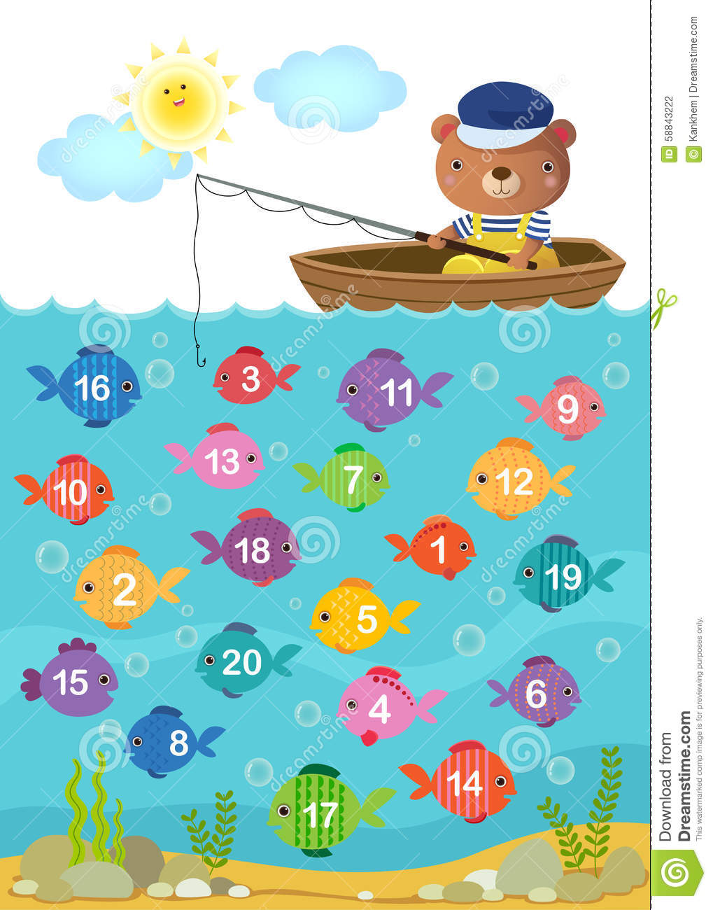 Learn Counting Number With Cute Bear Stock Vector - Illustration of ...