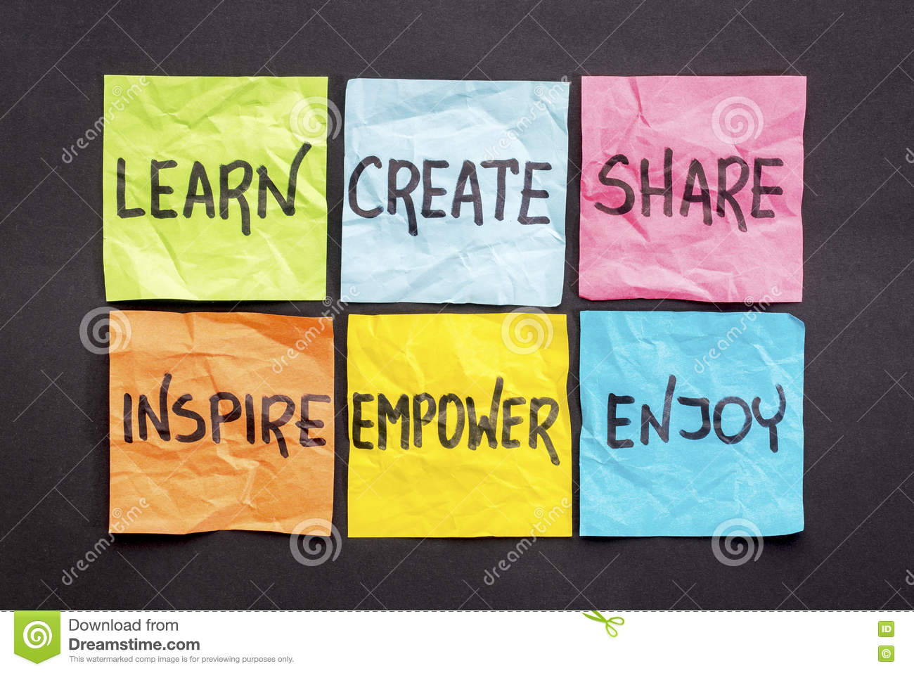 Learn Create Share And Inspire Stock Photo Image
