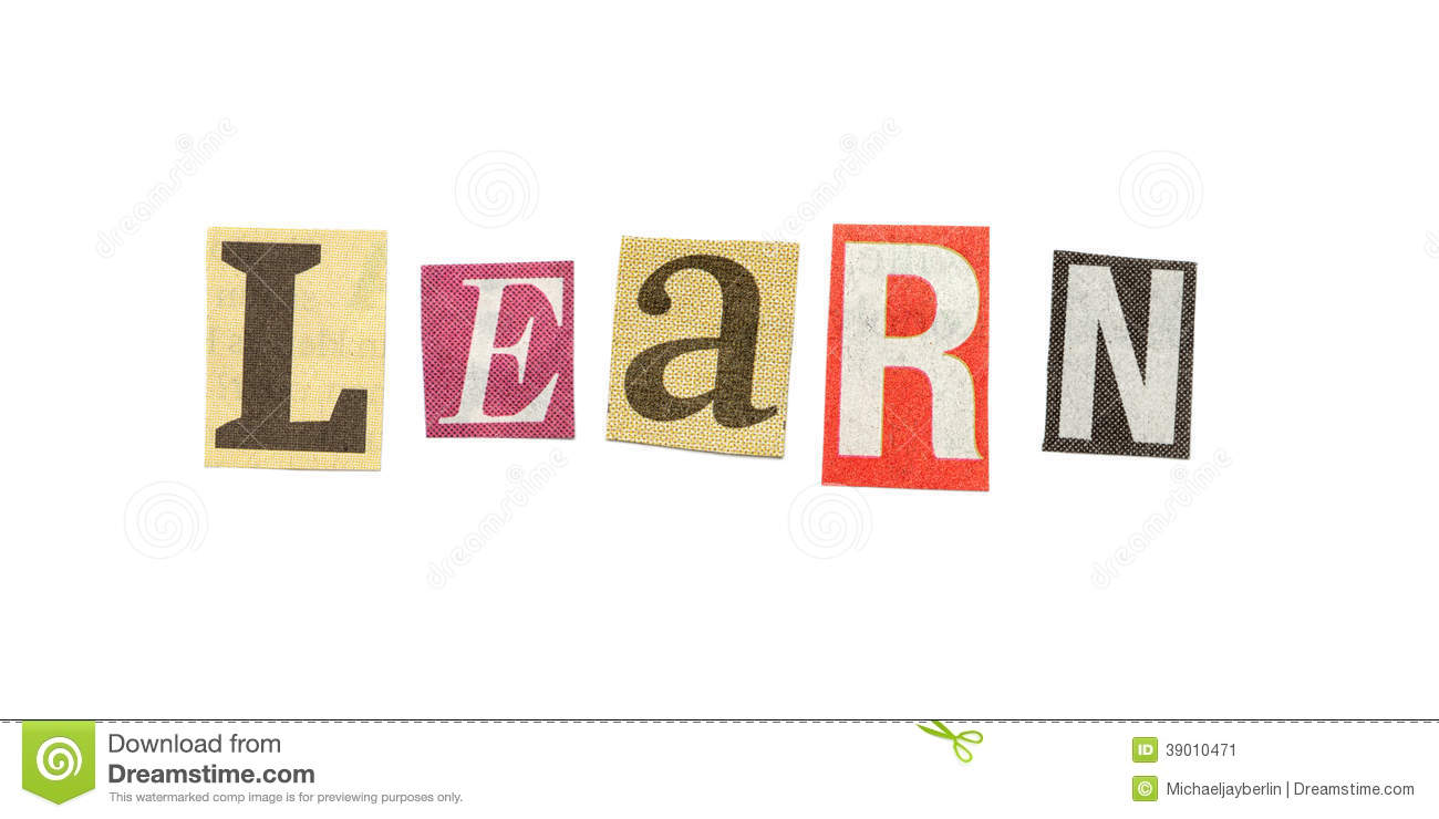 learn cutout newspaper letters stock image