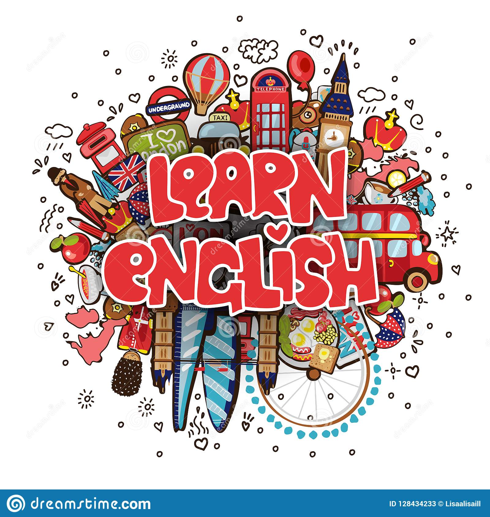Learn English Educational And Travelling Concept Learning English Vector Cartoon Illustration Set Of Fun Cartooning Editorial Stock Photo Illustration Of Isolated Group 128434233