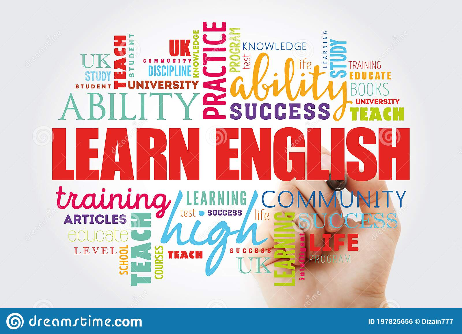 Learn English Word Cloud Collage Stock Illustration ...