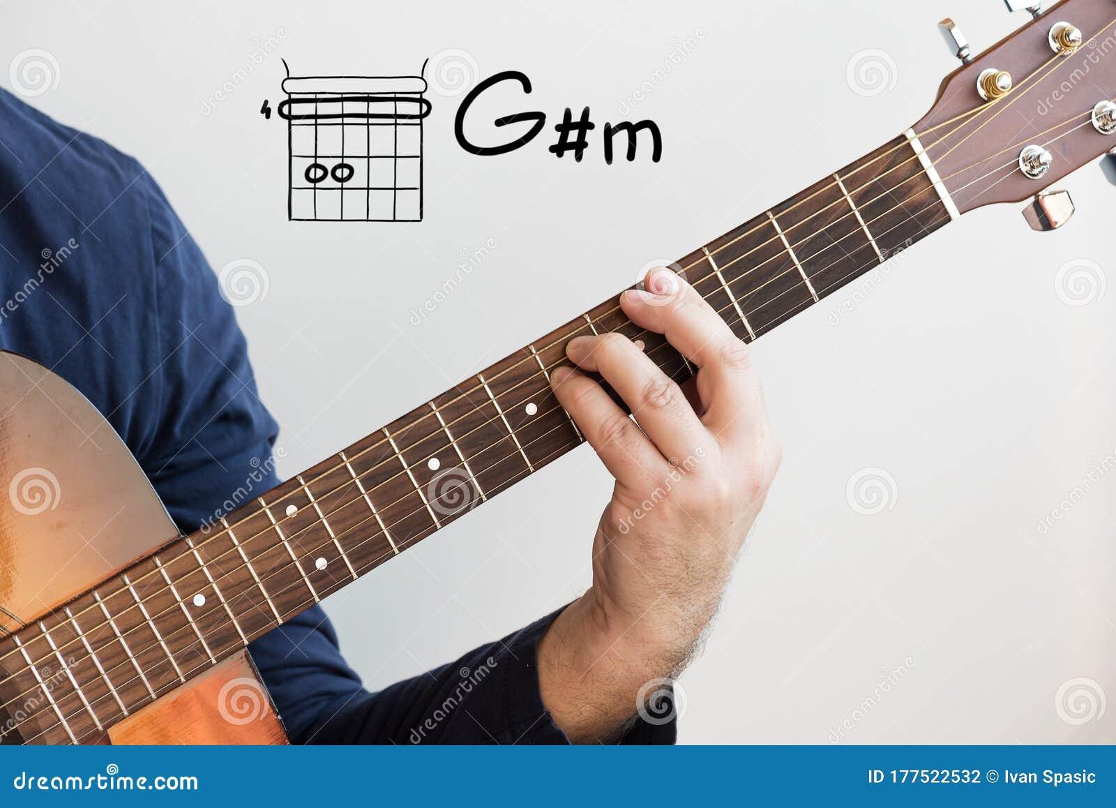 Man Playing Guitar Chords Displayed On Whiteboard, Chord G Sharp ...