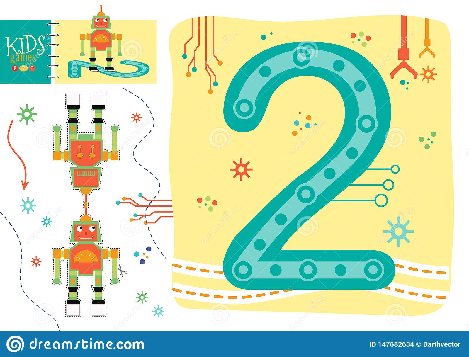 Learn How To Write Number 2 For Preschool Kids Vector Illustration Game Stock Vector Illustration Of Count Background 147682634