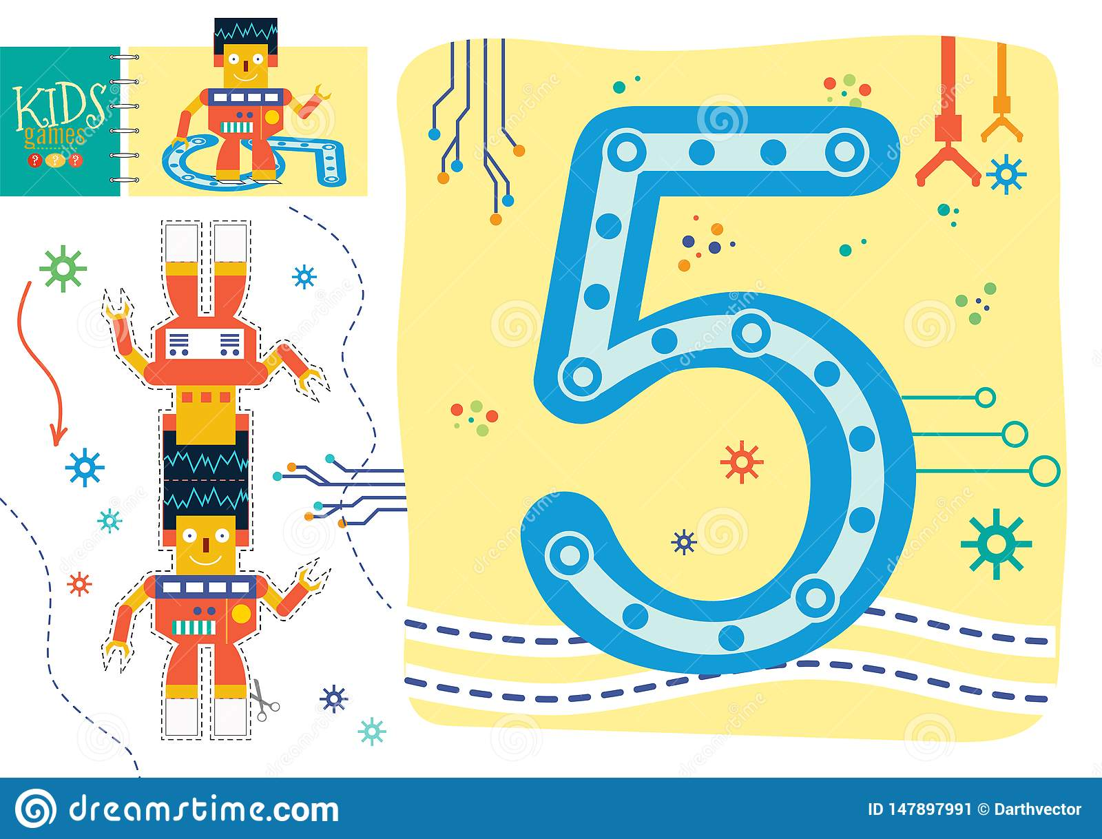 Learn How To Write Number 5 For Preschool Kids Vector Illustration Game Stock Vector Illustration Of Educational Numbers 147897991