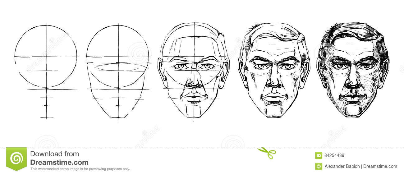 learn step by step to draw the face of a man stock vector