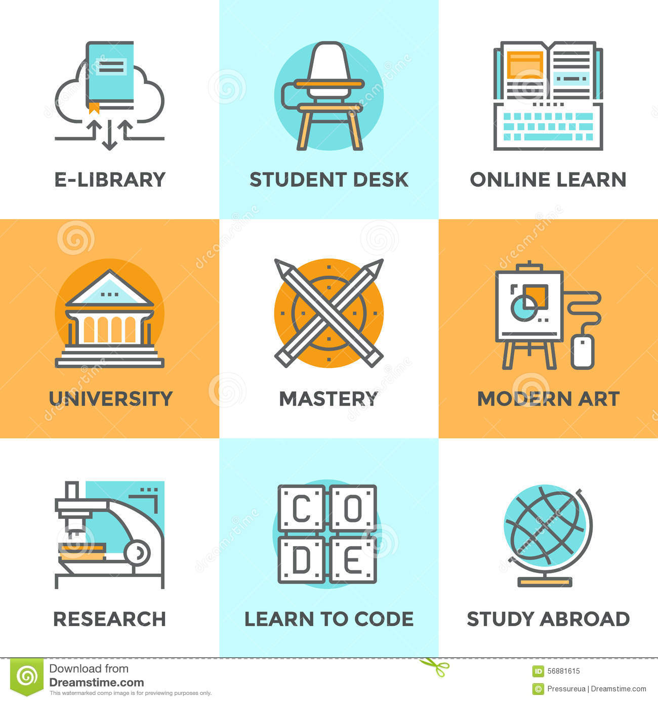 Classroom Design Elements ~ Learn and study line icons set stock vector image