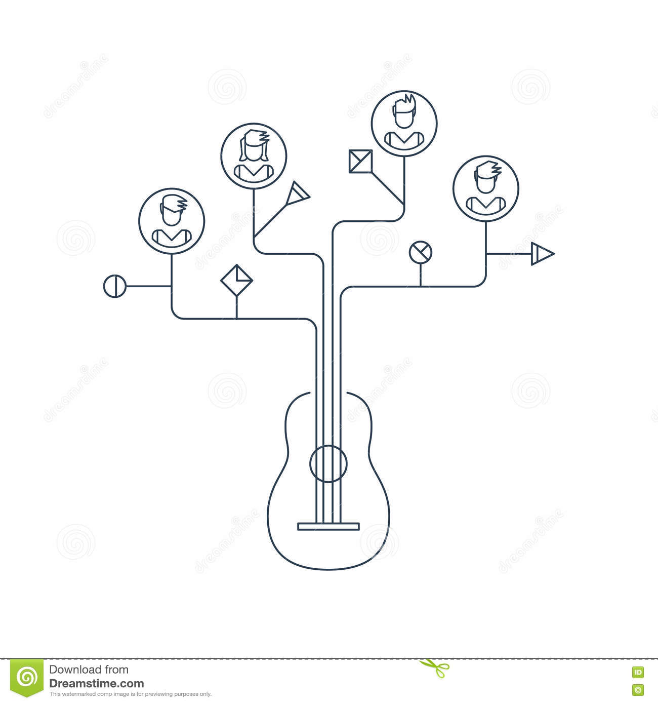 Learn To Play The Guitar Education Concept Icons And Symbols Stock